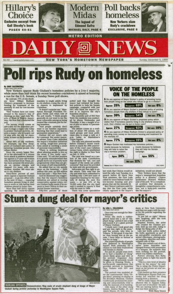 Stunt a dung deal for Mayor's critics, by Lisa L. Colangelo with Mary Sisson, New York Daily News, December 5, 1999