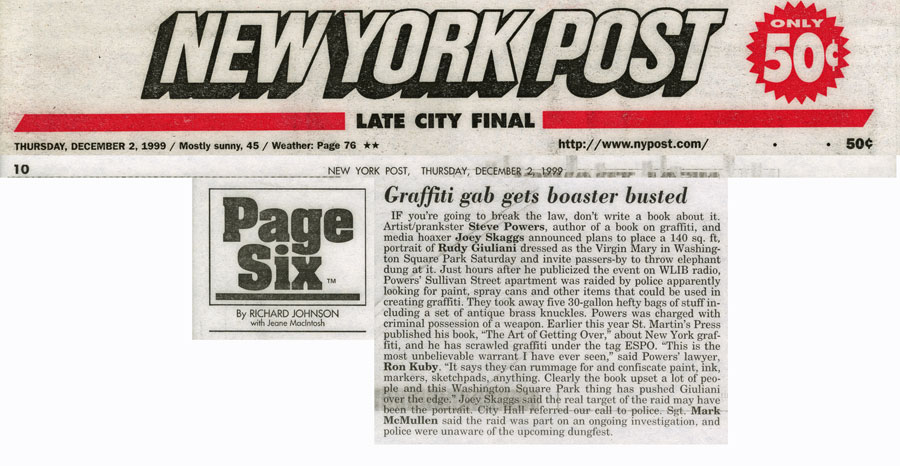 Page Six: Graffiti gab gets boaster busted, By Richard Johnson with Jeane MacIntosh, New York Post, December 2, 1999