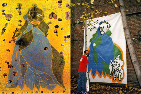 Steve Powers paints a satirical version of Chris Ofili's Holy Virgin Mary with Mayor Giuliani as the virgin