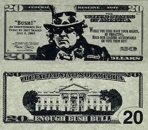 """Joey Skaggs' """"Bush!"""" parade Cash for you Vote, July 4, 2004"""