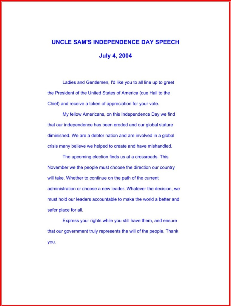 "Uncle Sam's ""Bush!"" parade speech, July 4, 2004"
