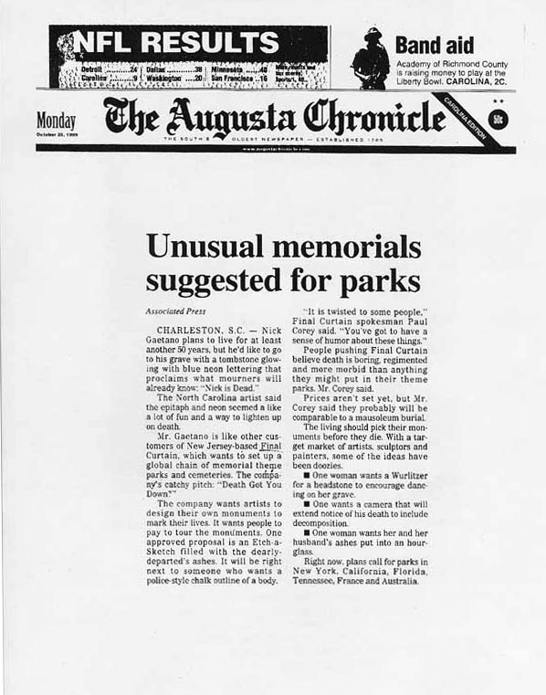 Unusual memorials suggested for parks, The Augusta Chronicle, October 25, 1999