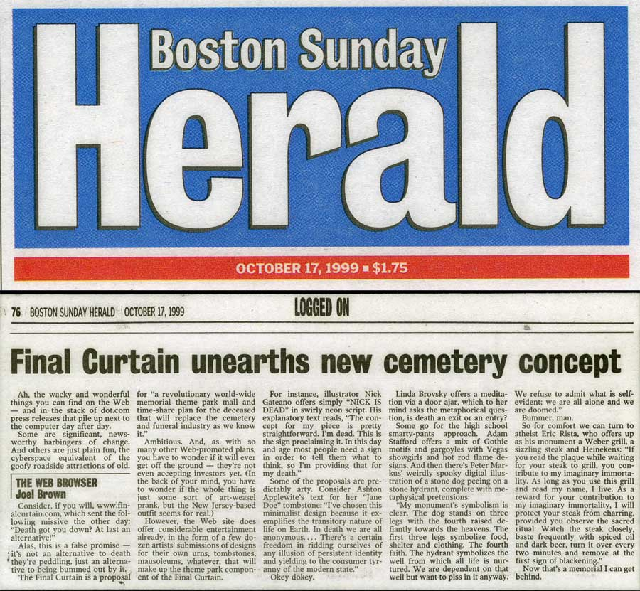 Final Curtain unearths new cemetery concept, by Joel Brown, Boston Sunday Herald, October 17, 1999