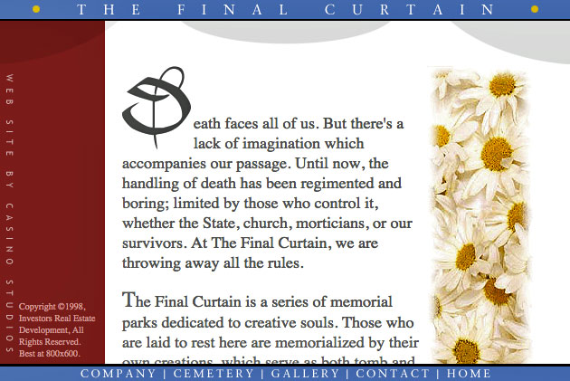FinalCurtain.com website home page