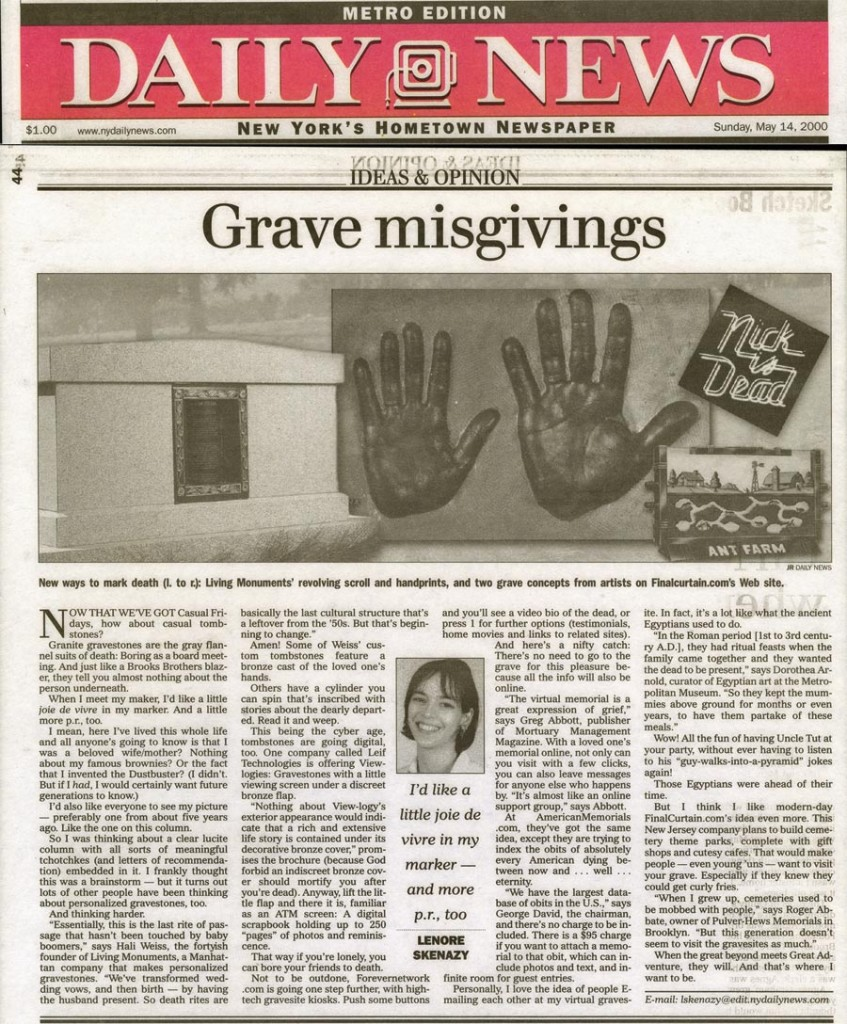Ideas & Opinions: Grave Misgivings, by Lenore Skenazy, New York Daily News, May 14, 2000