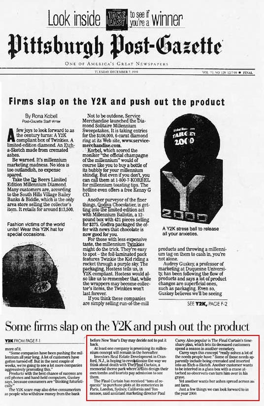 Firms Slap on the Y2K and push out the product, by Rona Kobell, Pittsburgh Post Gazette, December 7, 1999