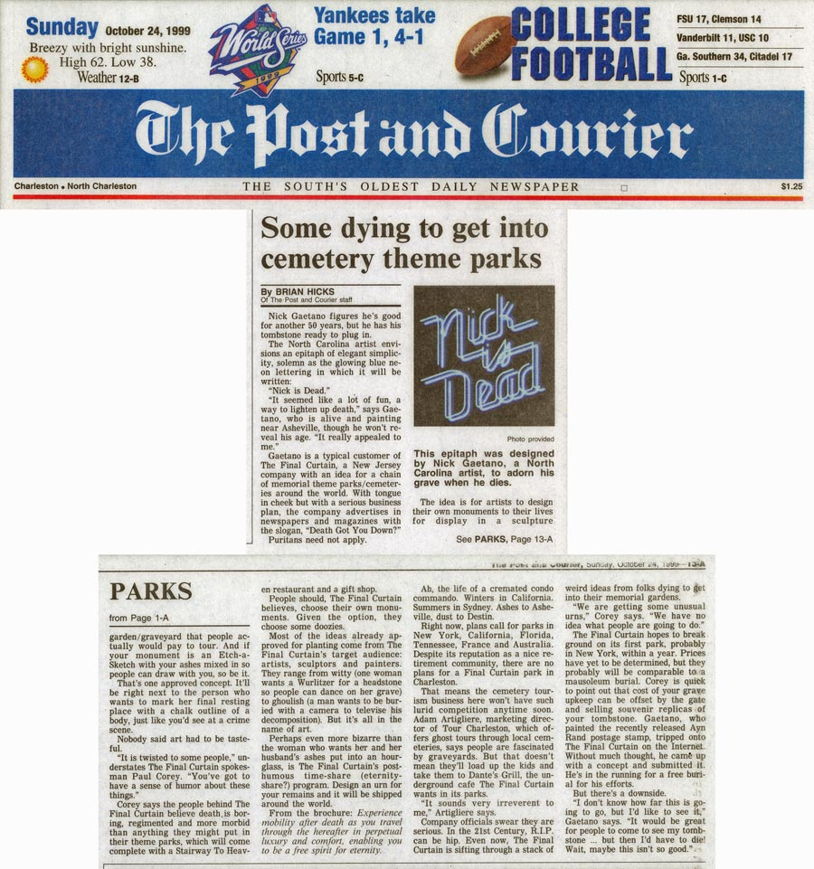 Some dying to get into cemetery theme parks, by Brian Hicks, Post & Courier, October 24, 1999