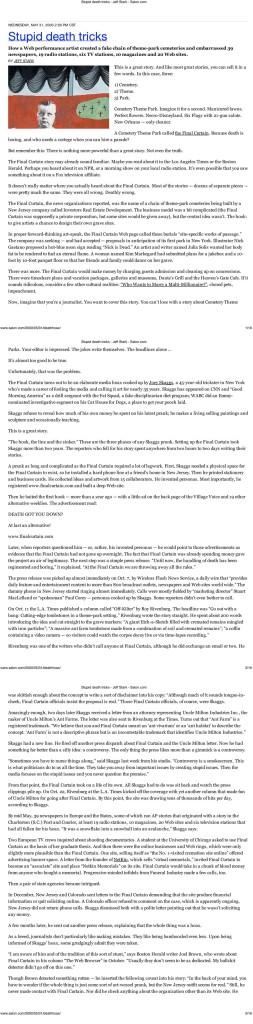 Stupid Death Tricks, by Jeff Stark, Salon.com, May 31, 2000
