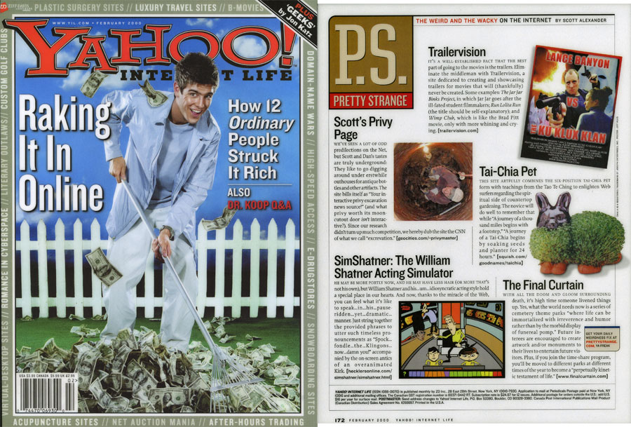 The Weird and Wacky on the Internet: The Final Curtain, by Scott Alexander, Yahoo Internet Life, February 2000