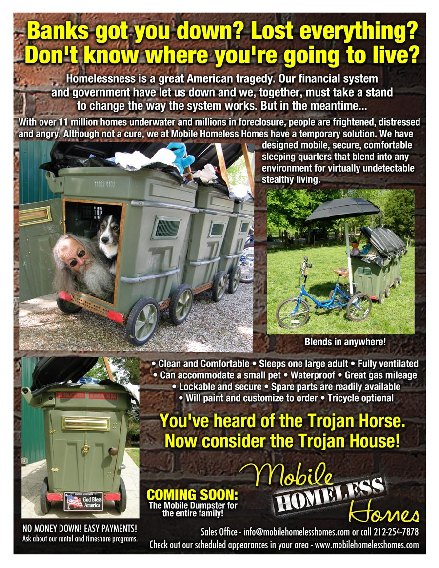 Joey Skaggs' Mobile Homeless Homes flyer