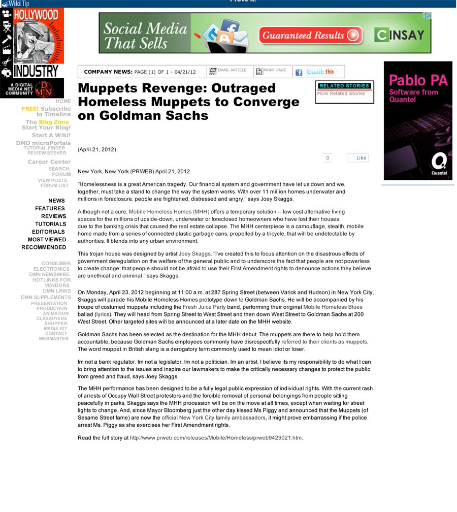 Muppets Revenge: Outraged Homeless Muppets to Converge on Goldman Sachs, by PRWeb, Digital Media, April 21, 2012