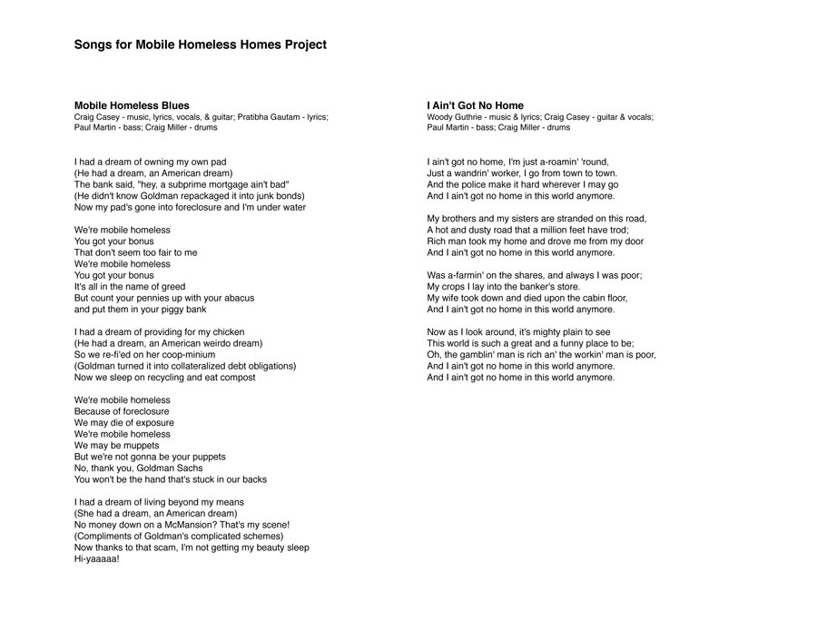 Joey Skaggs' Mobile Homeless Homes music lyrics