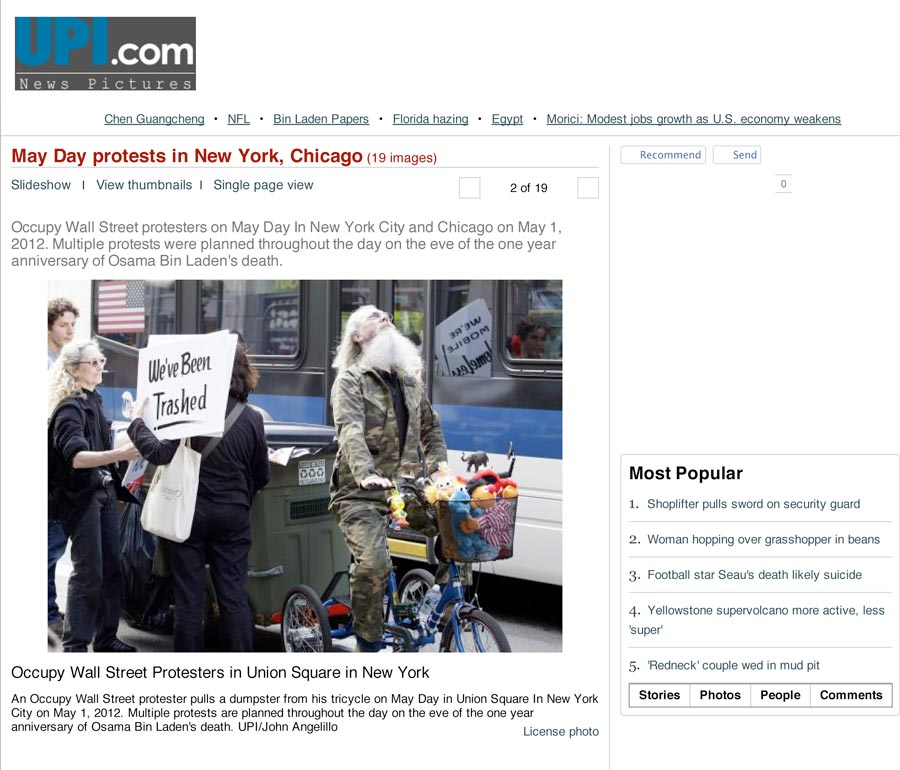 May Day Protests in New York, Chicago: Occupy Wall Street Protesters in Union Square in New York, UPI, May 1, 2012