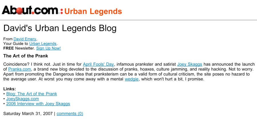 Art of the Prank, David's Urban Legends Blog, March 31, 2007