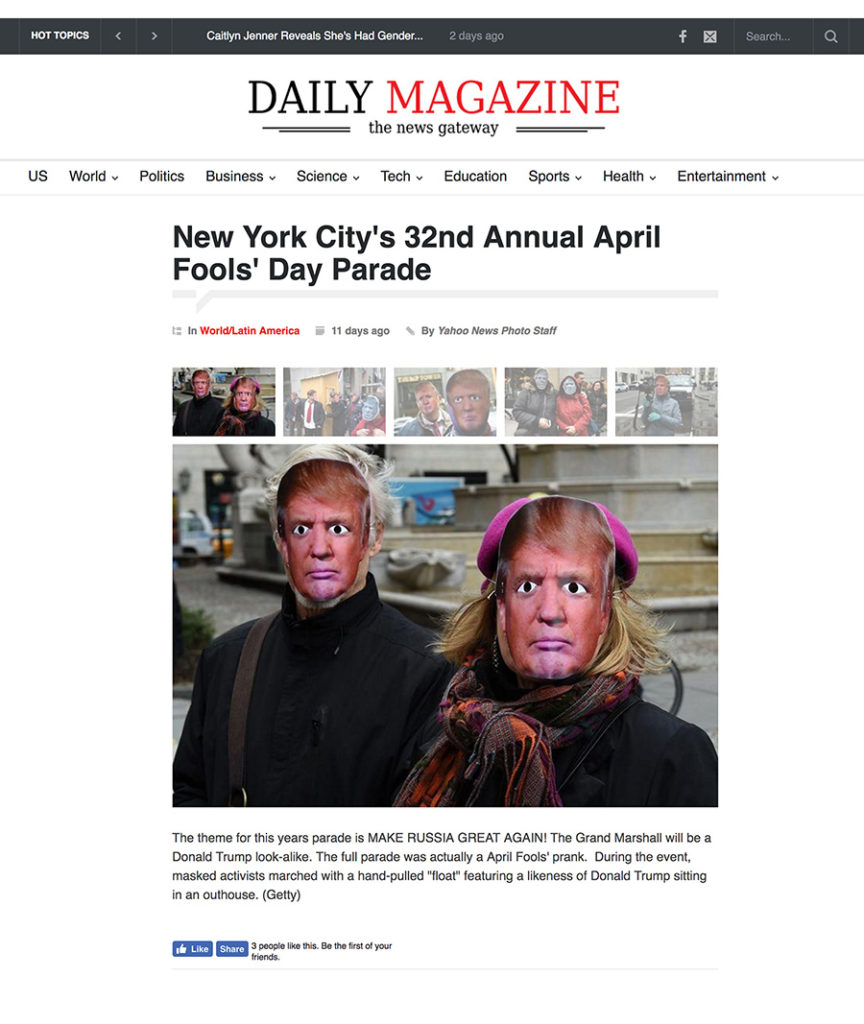 World/Latin America: New York City's April Fools' Day Parade, Daily Magazine, April 1, 2017
