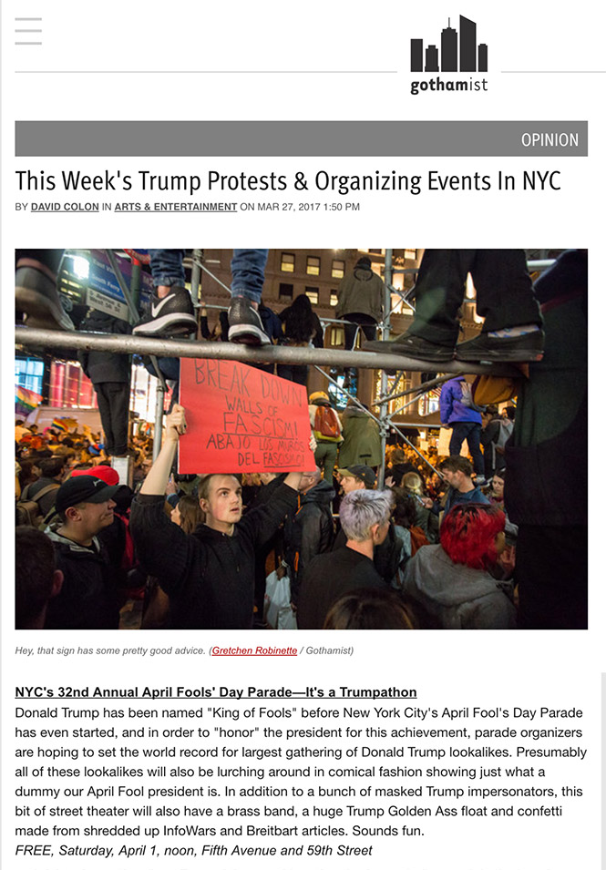 This Week's Protests & Organizing Events in NYC, Gothamist, April 3, 2017