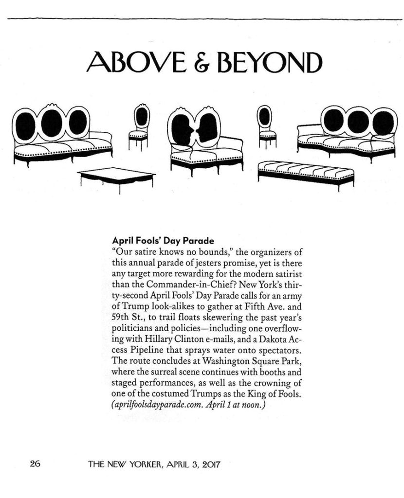 Above & Beyond: April Fools' Day Parade, New Yorker, March 29, 2017