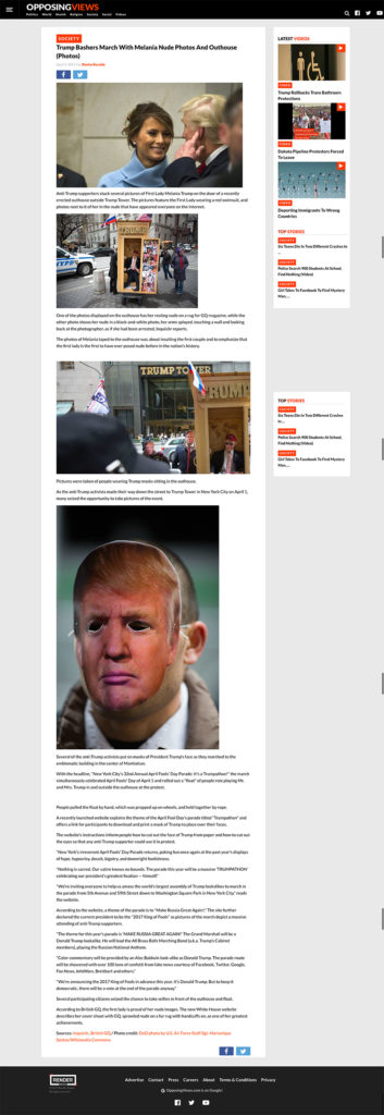 Trump Bashers March With Melania Nude Photos And Outhouse (Photos), Opposing Views, April 3, 2017